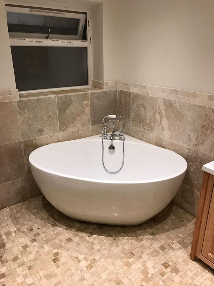 Freestanding Bath With Deck Mounted Traditional Taps