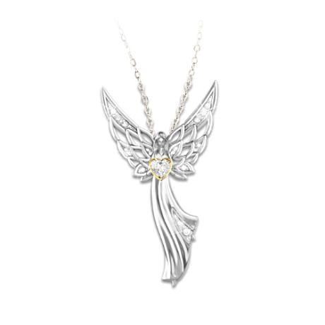 Handcrafted solid sterling silver angel pendant necklace features handcrafted solid sterling silver angel pendant necklace features openwork wings and 24k gold plated heart aloadofball Gallery