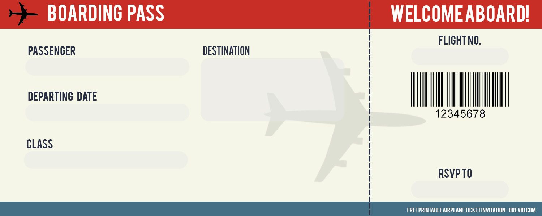 Free Airplane Ticket Birthday Invitation Templates Ticket Invitation Birthday Airplane Tickets Airplane Invitation Birthday