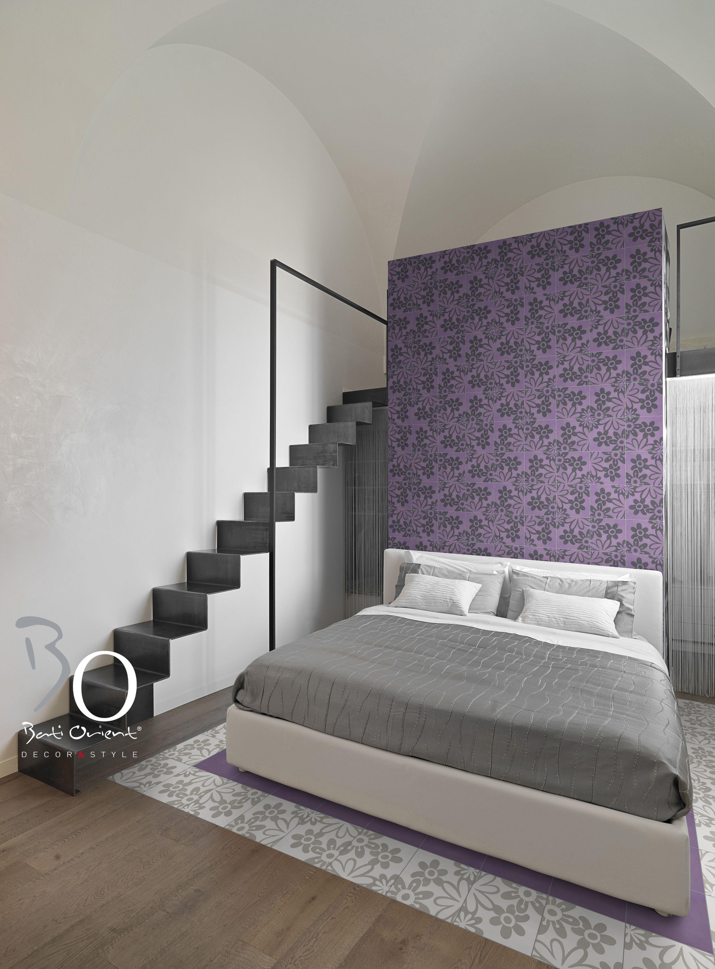 Pour cette chambre, #carreauxciment par #batiorient sur le mur tête ...