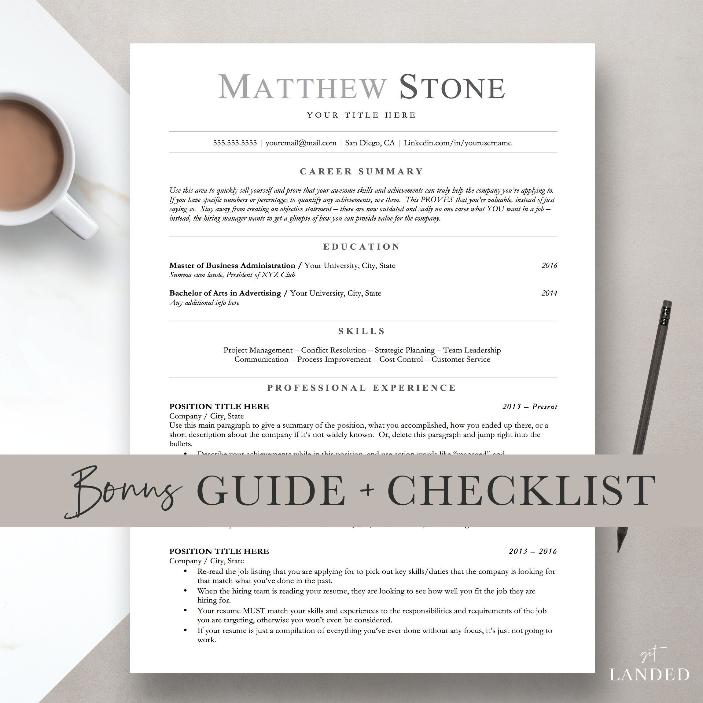 Ats friendly resume minimalist resume template for word