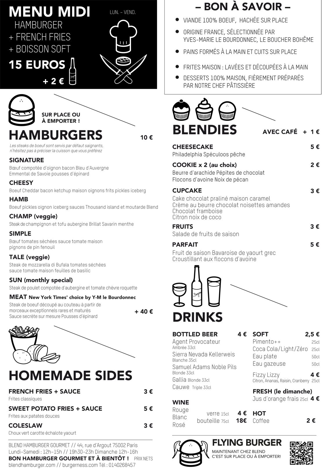 Blend Burger Paris Carte Restaurant Menu Resto Boisson Soft