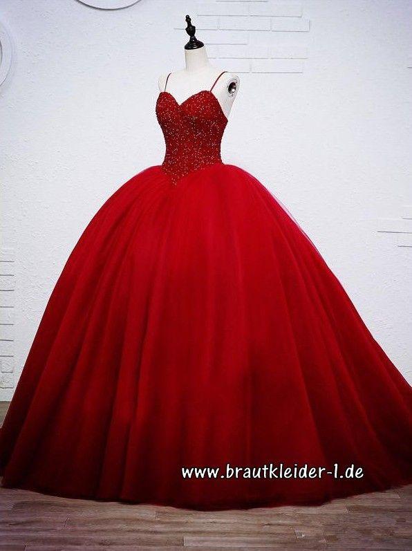 Spaghetti Träger Brautkleid in Rot mit Perlen Stick | Brautkleider ...