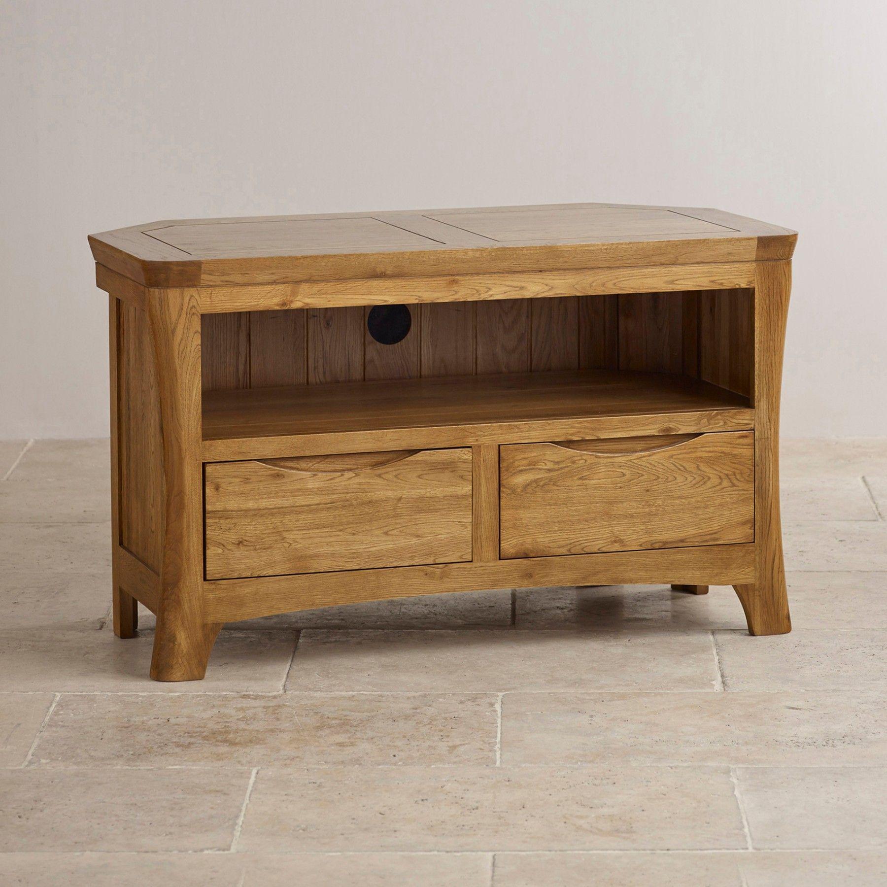 Orrick Rustic Solid Oak Corner Tv Stand Rustic Oak Furniture Oak Furniture Wood Tv Unit