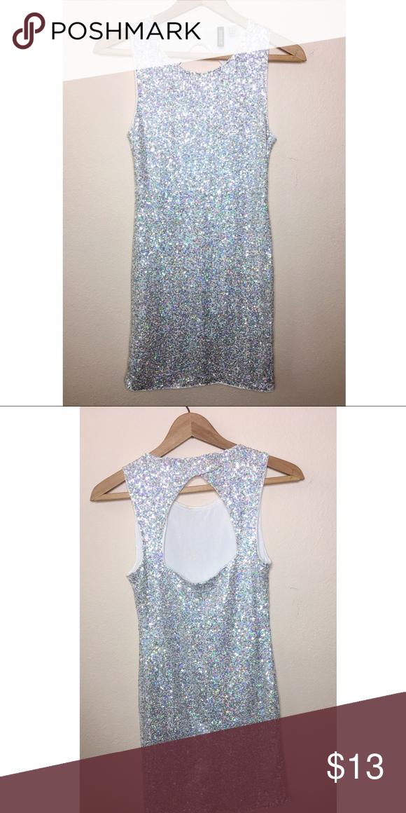 e24473f0aab7d H&M Silver Sequins Open Back Mini Dress 6 Gently used Divided by H&M Silver  sequins open