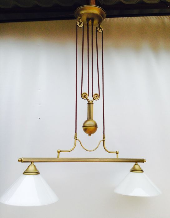 Klassieke dubbele koperen pendellamp - Verlichting | Pinterest ...