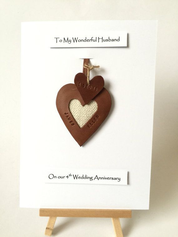 4th 3rd Wedding Anniversary Leather Gift Cards Personalised Etsy Anniversary Cards For Husband 3rd Anniversary Gifts 3rd Wedding Anniversary