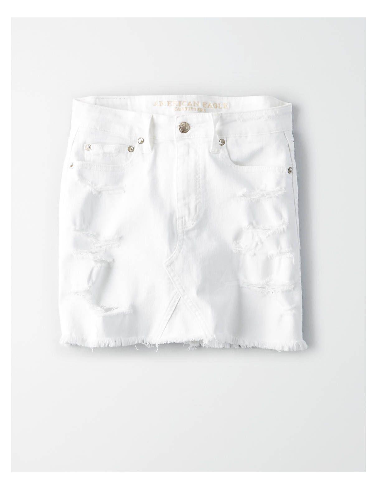 99daa69b0d AE High-Waisted Festival Denim Skirt, White | American Eagle Outfitters