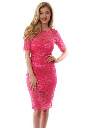 Goddess London Hot Pink Short Sleeved Elegant Lace Pencil Dress