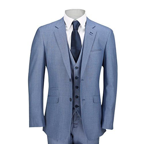 Mens Sky Blue 3 Piece Suit Work Wedding Prom Party Blazer... https ...