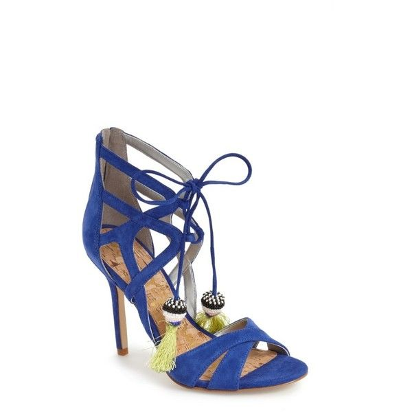 Women's Sam Edelman 'Azela' Tassel Lace-Up Sandal ($130) ❤ liked · Suede  SandalsBlue ...