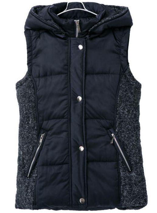 Black Hooded Sleeveless Pockets Vest 38.33