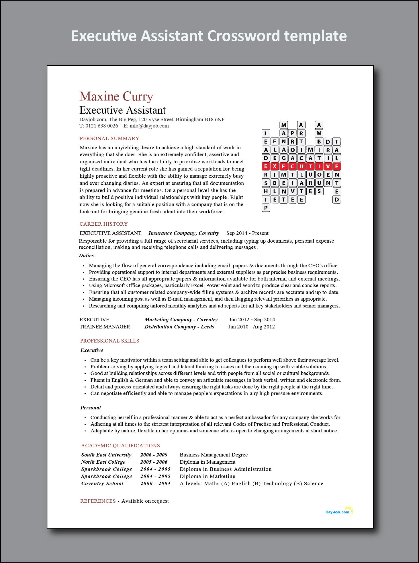 Executive Assistant Crossword template, CV, resume, to CEO