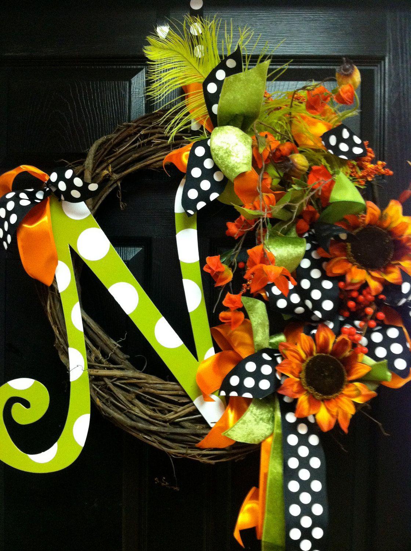 Custom Fall Wreath Halloween And Thanksgiving A B C D E F G H I J K L M N O P Q R S T U V W X Y Z Holiday Monogram Wreath Fall Wreath Wreaths