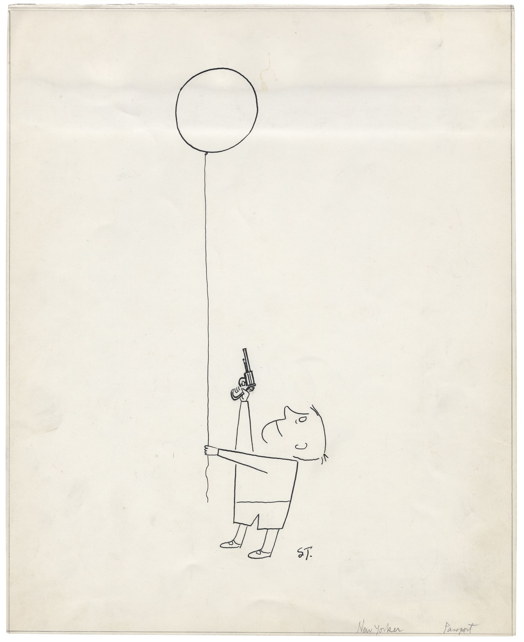 ¤ Saul Steinberg, Untitled, 1951. Ink on paper, 36.2 x 29.5 cm. Beinecke Rare Book and Manuscript Library, Yale University. Originally published in The New Yorker, November 17, 1951.