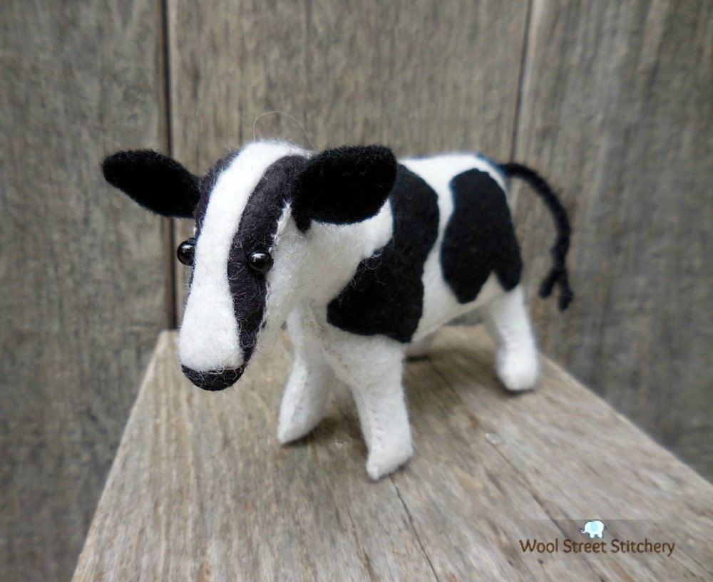 Small Felt Cow Stuffed Black And White Cow Soft Toy Holiday Gift