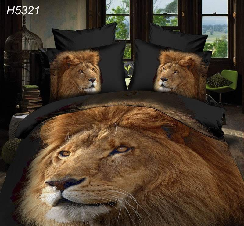 Western Style 4 Piece Reactive Print 3d Bed Covers HD Wild Animal & Creative Flower Print , Tigerfn