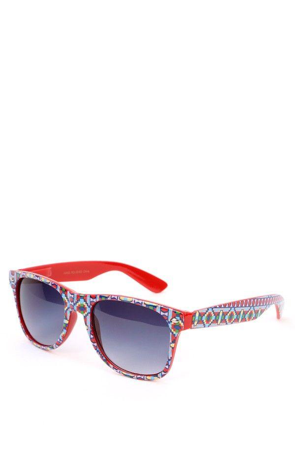 2e0007a7a24 Aztec Wayfarer Sunglasses RED MULTI