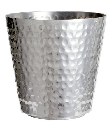 Large Plant Pot In Hammered Metal Height 4 3 Diameter At Top 5 1