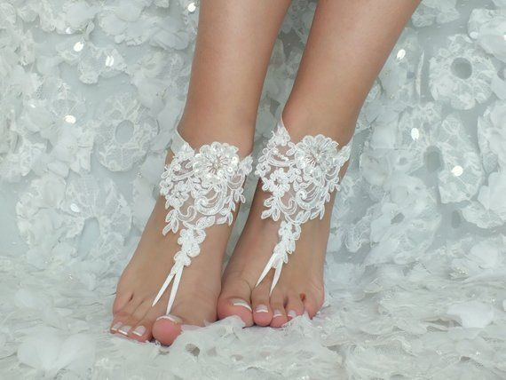 ca690d87a2546 Beach Wedding Barefoot Sandals ivory lace beach shoes Bridesmaids ...