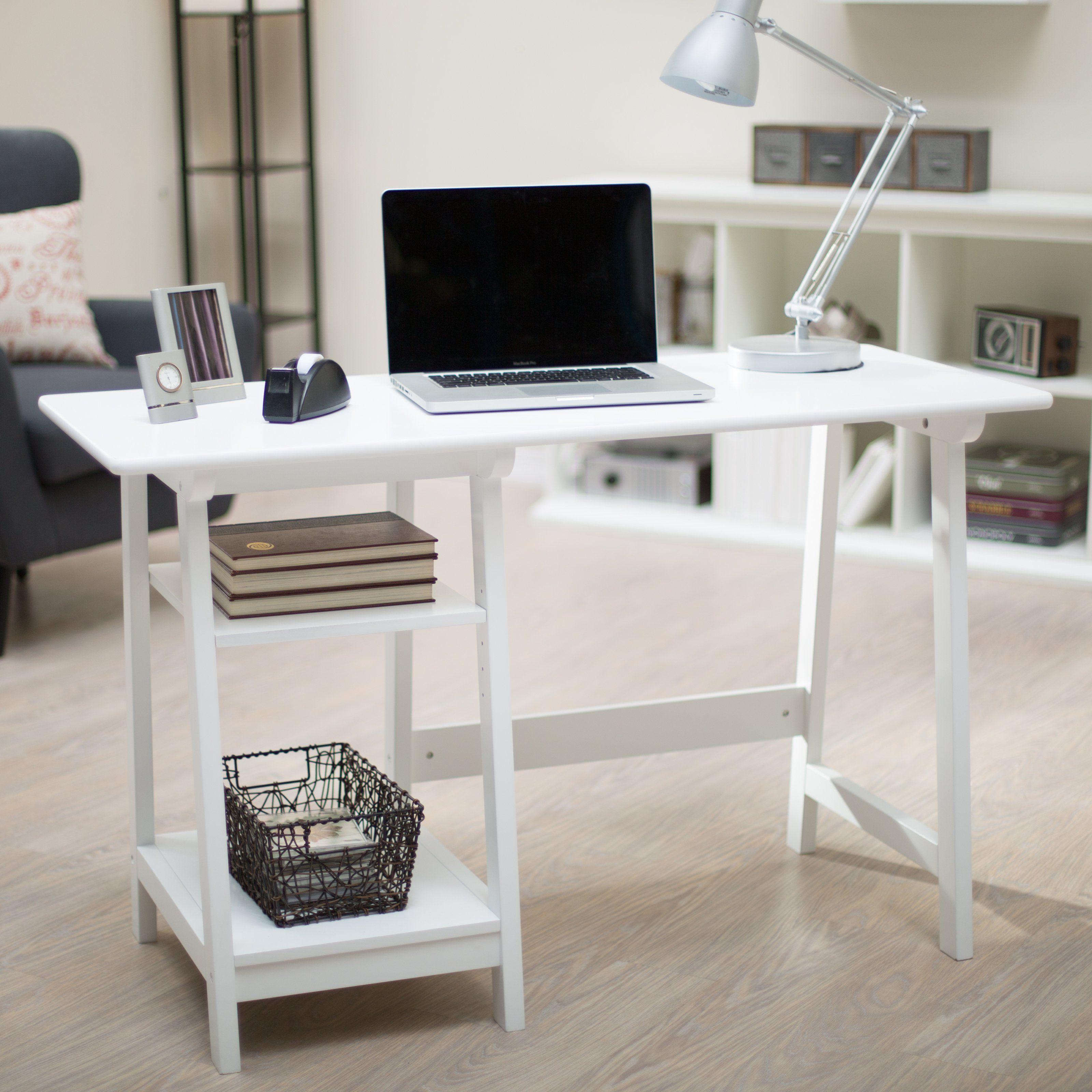 Manhattan open computer desk with adjustable shelf the manhattan