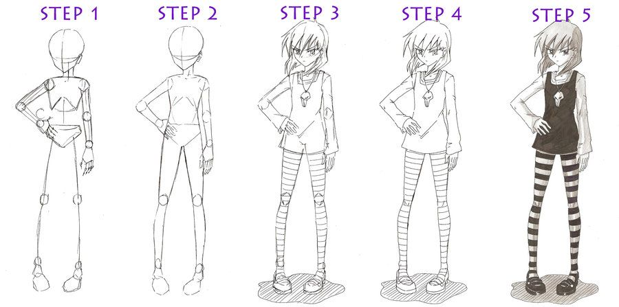 35+ Ideas For Girl Drawing Easy Step By Step Full Body