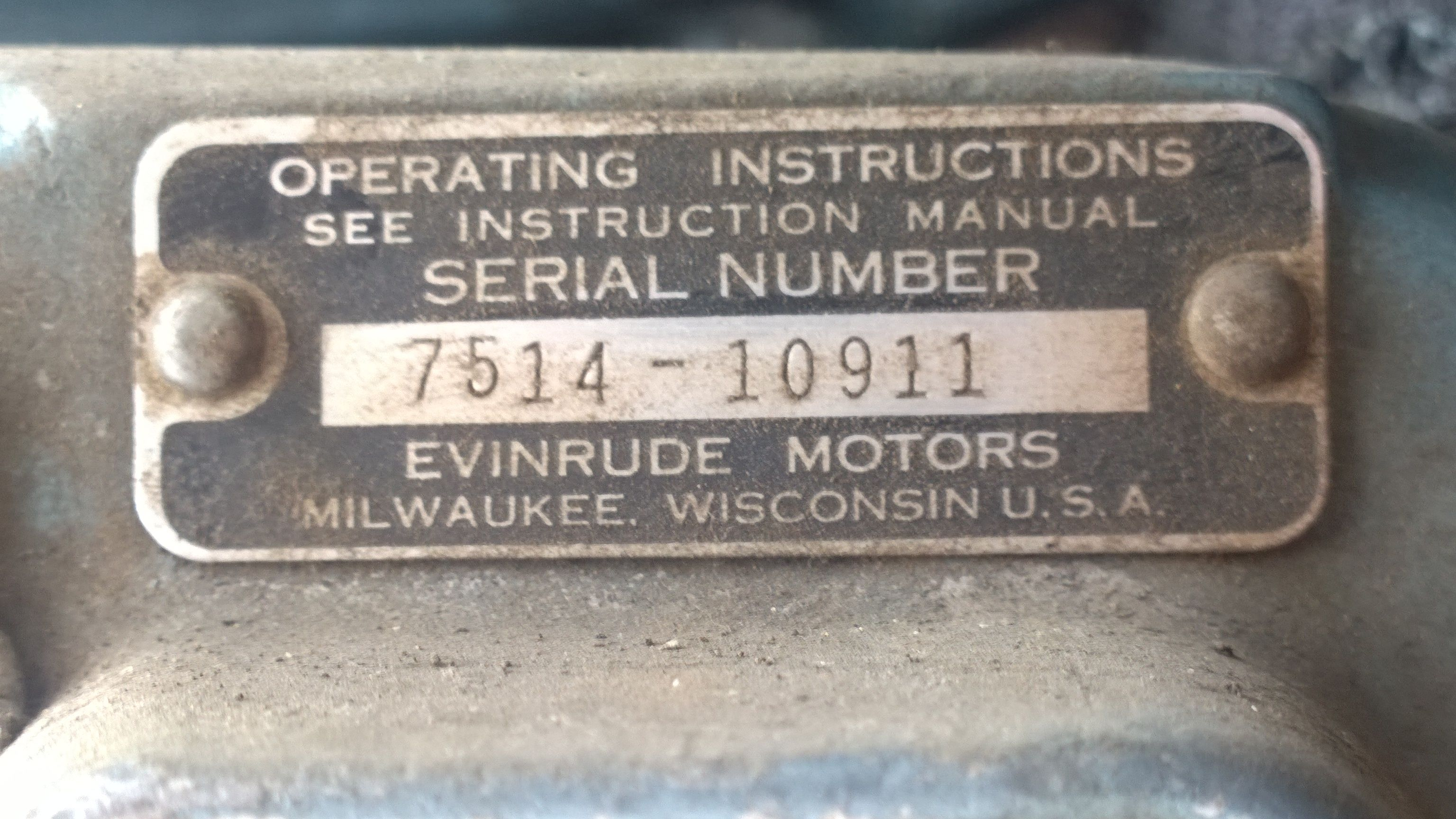 identification tag with serial number | 1954 Evinrude Fleetwin 7 5