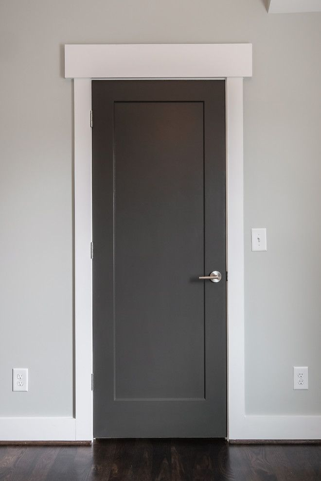 Bedroom Screen Door: 1 Panel Flat Shaker Door. Finished In A Dark Gray.