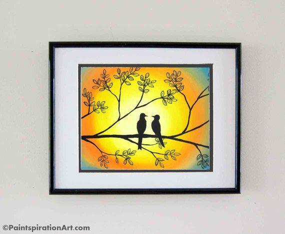Love Birds Prints Original Painting - Whimsical Animal Art ...
