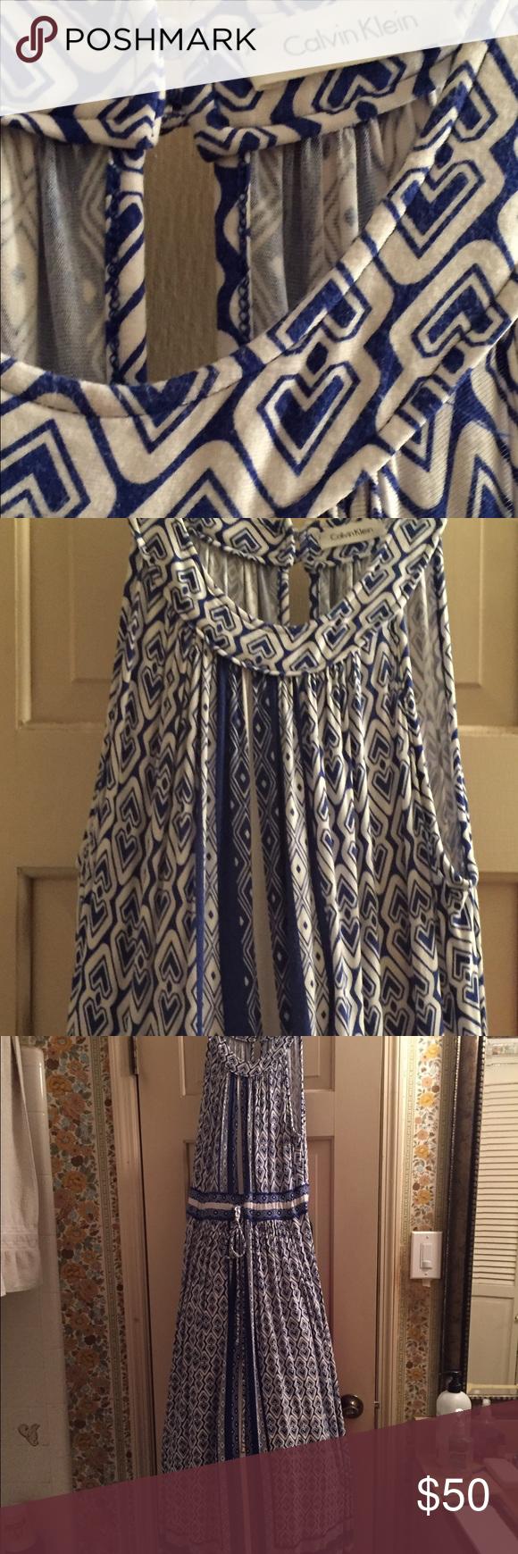 Calvin Klein dress Blue and white Calvin Klein dress super cute. Worn maybe 4 times. Calvin Klein Dresses Maxi
