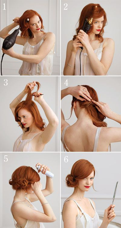 1. Using a round brush, blow-dry hair smooth and straight, focusing on the top sections  2. Once dry, use a large-barrel curling iron to create waves from the ears down  3. Build height and volume at the crown by teasing hair gently with a fine-tooth comb  4. Gather hair into a low ponytail; twist it along the nape of your neck, pinning as you go  5. Once you reach your ear, shape the remaining hair into curls, and pin them back over the twist  6. Spritz strands in place
