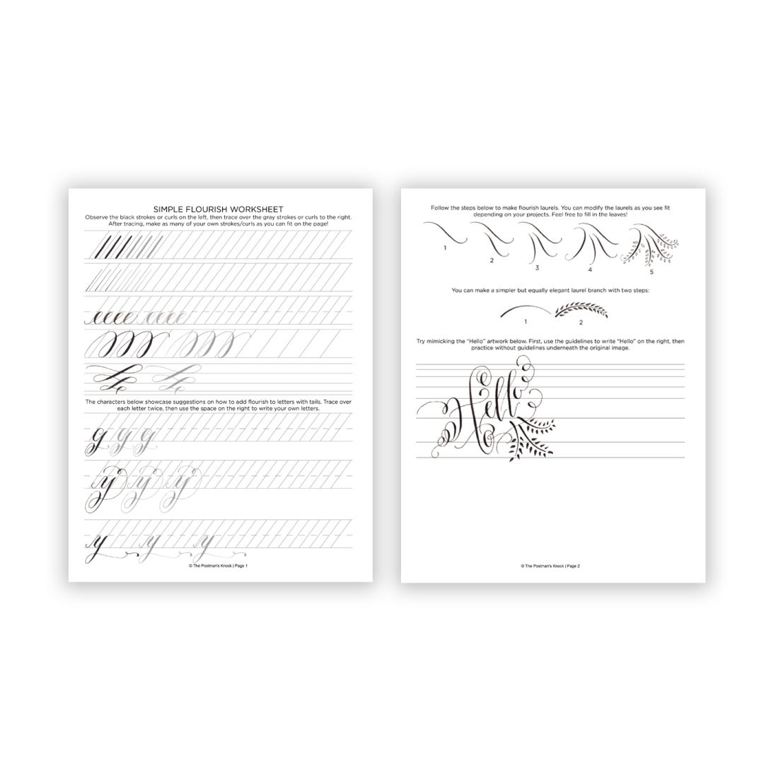 Free Printable Flourish Worksheet  Worksheets Basic Calligraphy