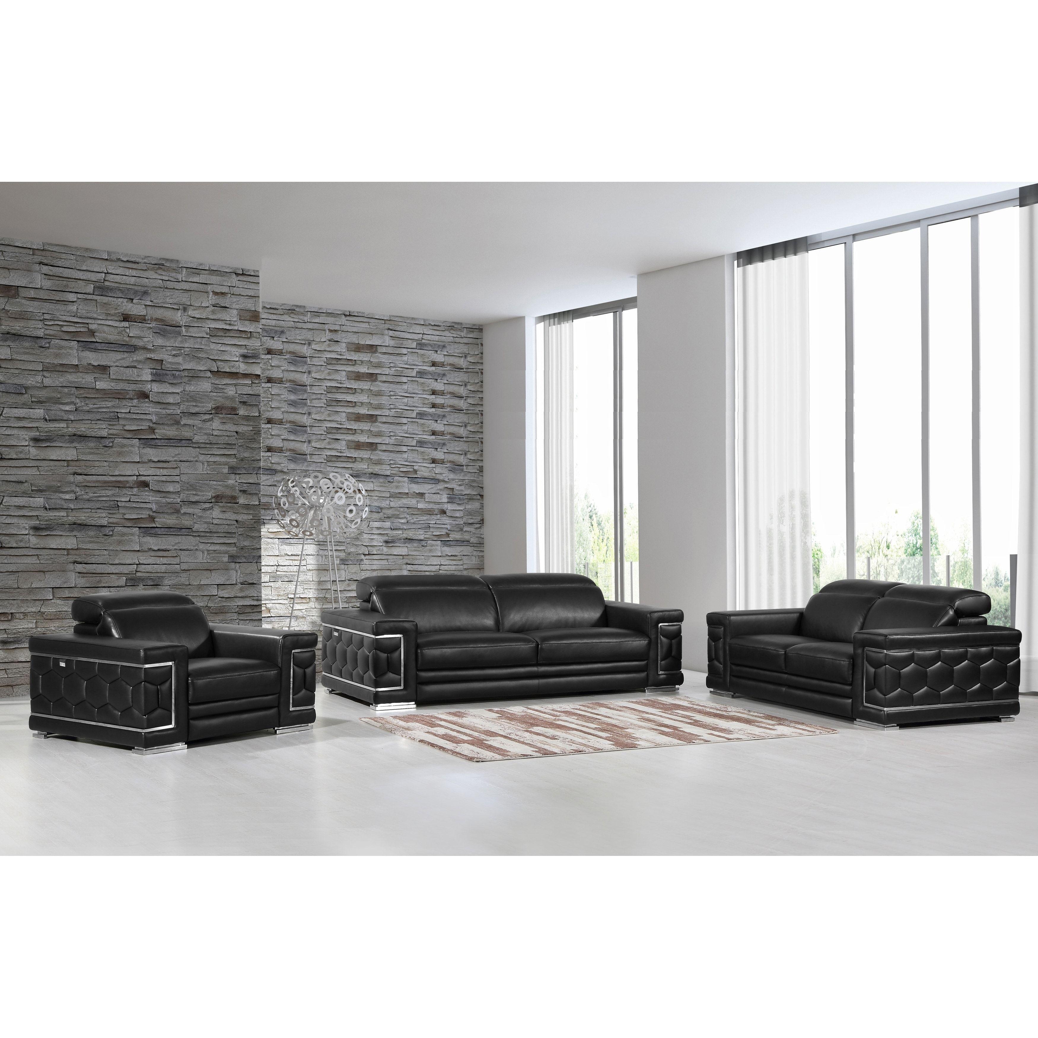 DivanItalia Ferrara Luxury Italian Leather Upholstered Complete 3 ...