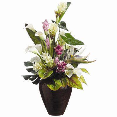 Tori Home Faux Tropical Flowers Arrangement in Vase | Wayfair