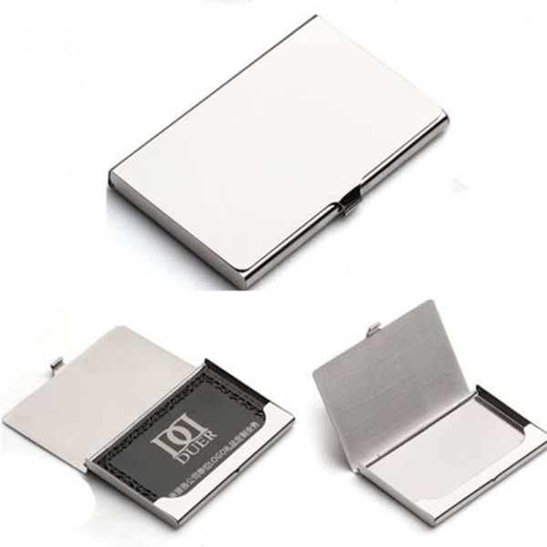 Stainless Steel Silver Aluminum Business ID Credit Card Holder Case Cover DIY Decoden (EPDCF1089)