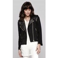 IRO Adila Perfecto Jacket in Black features a suede and smooth leather moto jacket ; Find more IRO at TheDreslyn.com