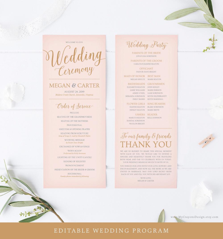 Printable Wedding Program Rose Gold Wedding Ceremony Program Gold and Blush Bokeh Order of Service,