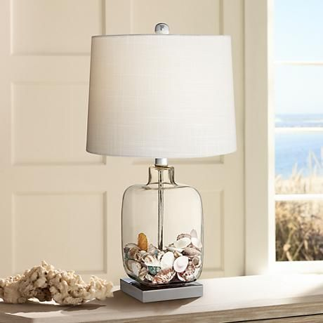 Square Glass Fillable Table Lamp   Style # 3D619