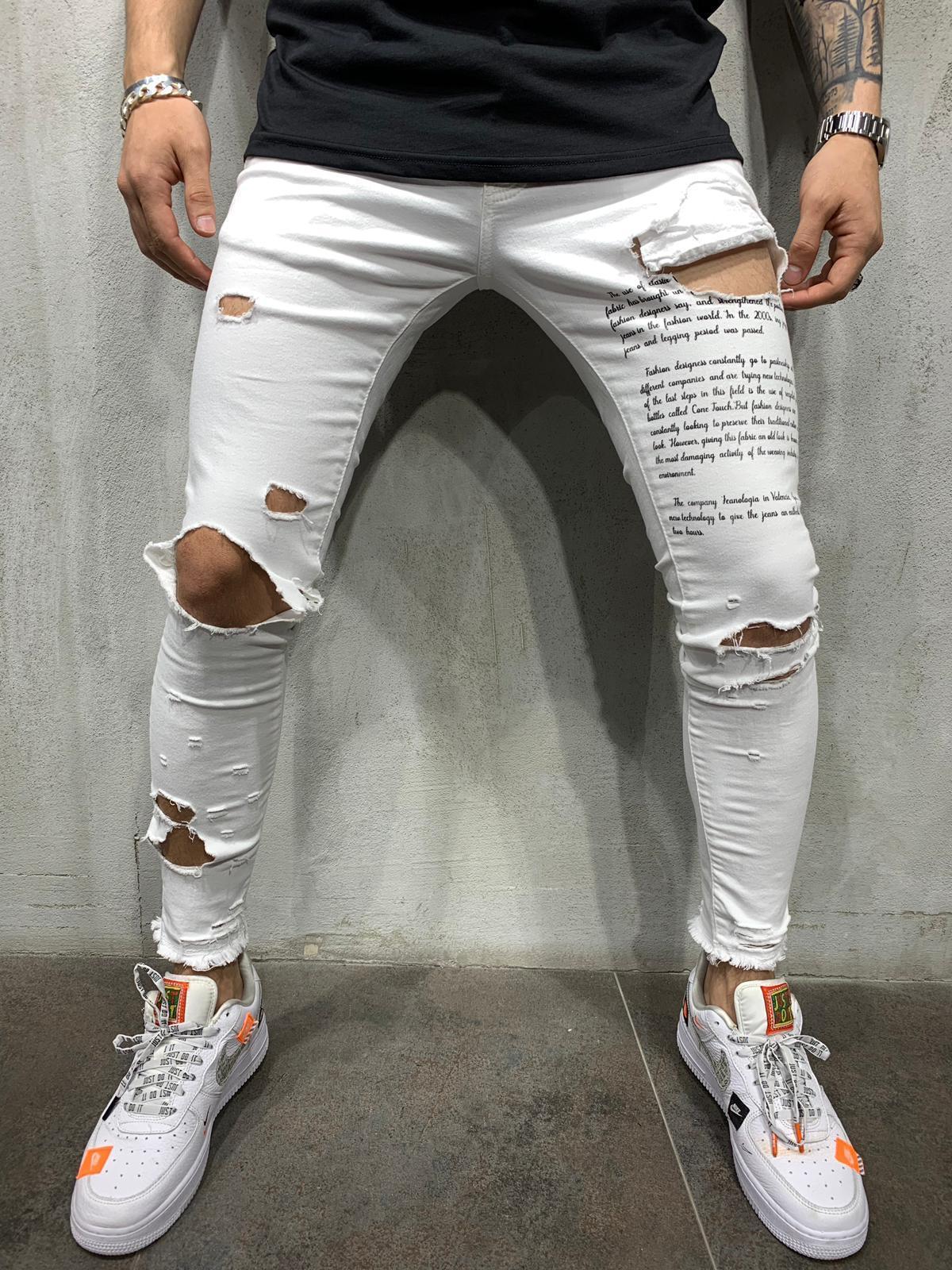 White Ripped Jeans Black Type Print White Ripped Jeans Ripped Jeans Men Mens Streetwear [ 1600 x 1200 Pixel ]