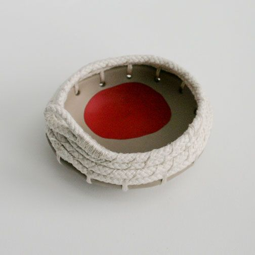 Bowerbird Brown- Woven Rope Bowl/Red - Great Ocean Road Gifts