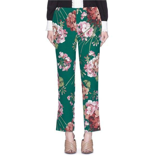 Floral-printed silk trousers Gucci tDzUsuu9j