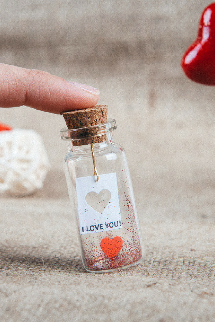 5b4cf68b5a65 Valentine s Day gift for her Message in a bottle Be my valentine Love gift  him Valentine Gift miniature red heart gift ideas for boyfriend