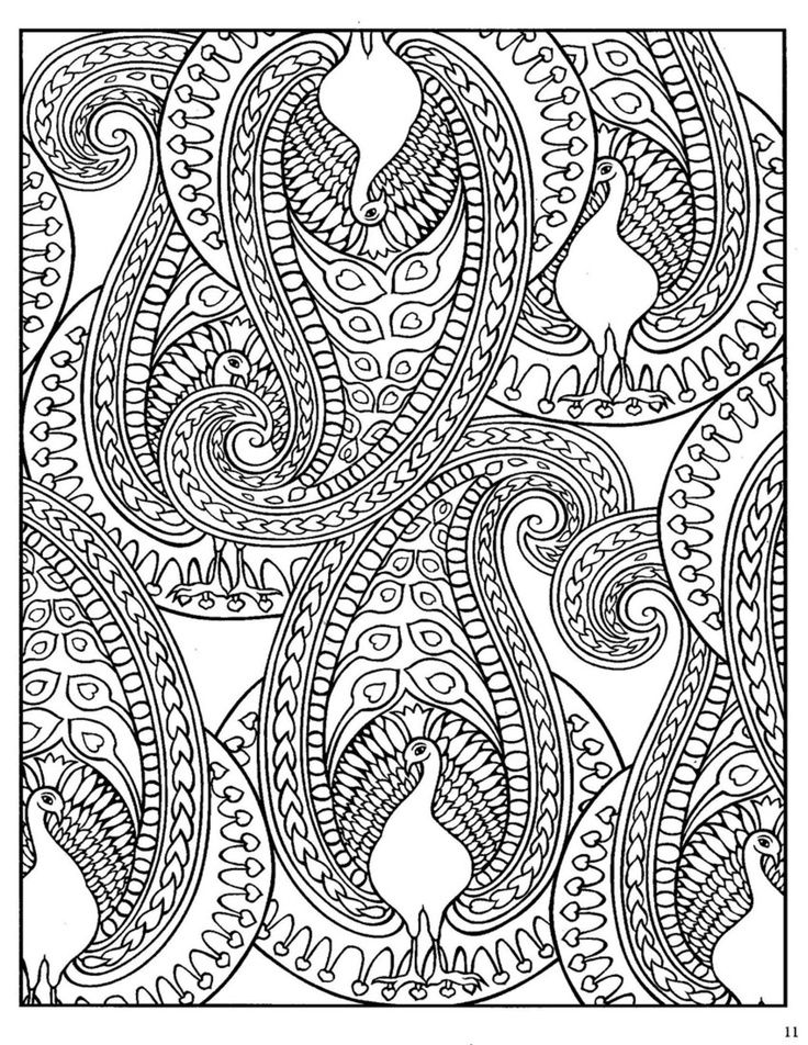 Paisley Design Coloring Pages Animals