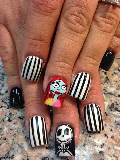 Jack and Sally nails | Nails | Pinterest | Sally, Pretty nail ...