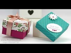 """Grateful Bunch, Blossom Bunch punch, Have A Cuppa DSP, It's My Party Enamel Dots, Bermuda Bay 1/8"""" Stitched Ribbon, Love Blossoms Embellishment Kit & DSP - Pootle's SpringWatch Reinforced DSP Lidded Box Tutorial"""