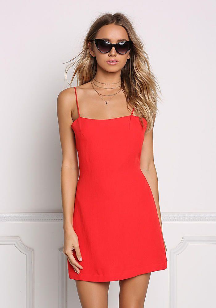 6bac8f73443 Red Tie Back Shift Slip Dress