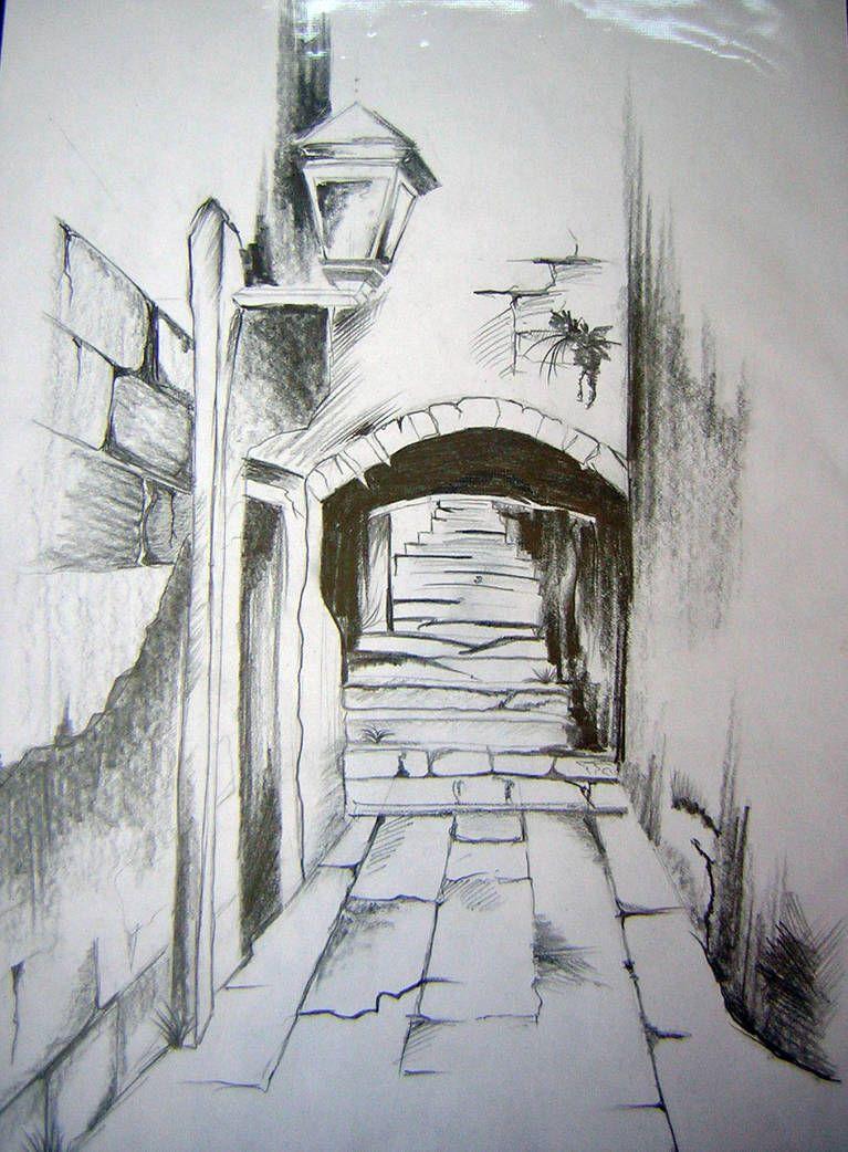 Pencil Drawing By Webgirla Landscape Pencil Drawings Drawing Scenery Landscape Sketch