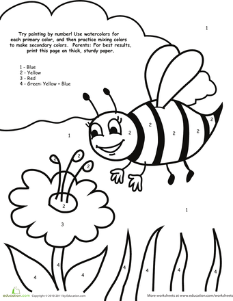 Watercolor Paint By Number Bee Worksheet Education Com Preschool Coloring Pages Bee Coloring Pages Preschool Colors
