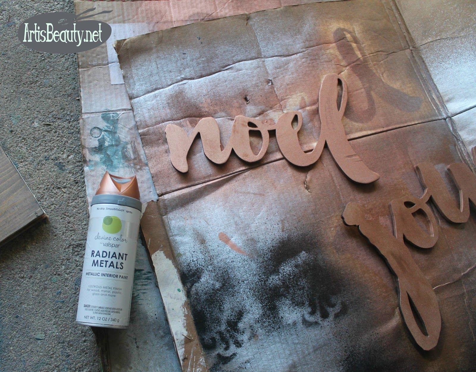 bd22551ab02d devine color valspar radiant metals copper spray paint christmas signs joy  noel vintage shiplad driftwood craft diy