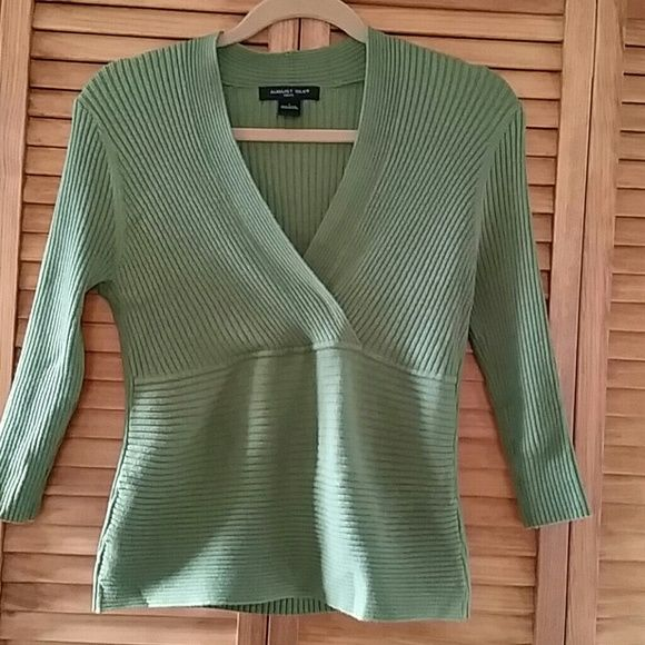 Sage green silk blend knit sweater...sz Large Mint condition sweater...fitted...viscose/silk/nylon blend august silk Tops